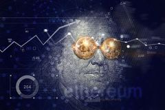 Benjamin franklin with bitcoin glasses on network connectiona Royalty Free Stock Photo