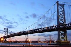 Benjamin Franklin Bridge. Sunset at Benjamin Franklin Bridge in Philadelphia Royalty Free Stock Photos