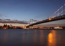 Benjamin Franklin Bridge. Sunset at Benjamin Franklin Bridge in Philadelphia Stock Photo