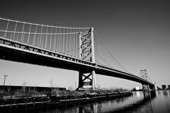 Benjamin Franklin Bridge. In Black and White.  Philadelphia, PA USA Royalty Free Stock Photo