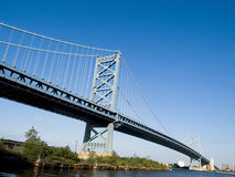 Benjamin Franklin Bridge. The Benjamin Franklin Bridge, linking New Jersey and Pennsylvania at Philadelphia Royalty Free Stock Image