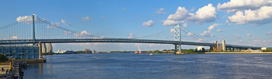 Benjamin Franklin Bridge em Philadelphfia Imagens de Stock Royalty Free