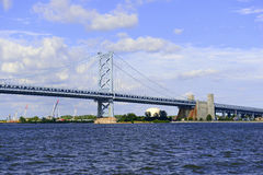 Benjamin Franklin Bridge, offically called the Ben Franklin Bridge, spanning the Delaware River joining Philadelphia, Pennsylvania. Benjamin Franklin Bridge Royalty Free Stock Image