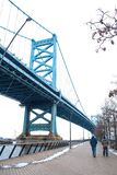 Benjamin Franklin Bridge in Philadelphia stock afbeeldingen