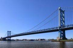 Benjamin Franklin Bridge Philadelphia Pennsylvania. Benjamin Franklin Bridge suspension structure spanning across the Delaware River between Philadelphia and New Stock Image