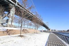 Benjamin Franklin Bridge, Philadelphia, Pennsylvania. View of the Benjamin Franklin Bridge, Philadelphia, Pennsylvania on cold winter day Stock Photo