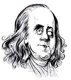Benjamin Franklin caricature. Hand-draw caricature from Benjamin Franklin stock illustration