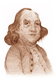 Benjamin Franklin Caricature Sketch. Illustration for editorial use only Royalty Free Stock Photo