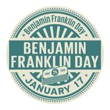 Benjamin Franklin Day, January 17. Rubber stamp, vector Illustration stock illustration