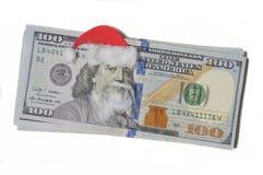 Benjamin Franklin in een Santa Claus-hoed op een bankbiljet Stock Afbeelding