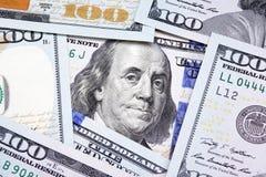 Benjamin Franklin en los cientos billetes de dólar Foto de archivo libre de regalías