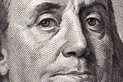 Benjamin Franklin en närbildstående Arkivfoto