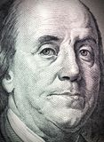 Benjamin Franklin face on dollar bill. Benjamin Franklin face on one hundred dollar bill royalty free illustration