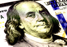 Benjamin Franklin face on US hundred or 100 dollars bill macro, united states money closeup. Stock Image