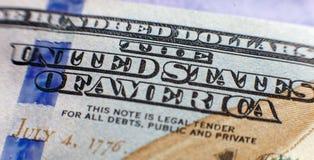 Benjamin Franklin face on us one hundred dollar bill macro isolated, united states money closeup.  stock photo