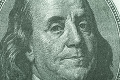 Benjamin Franklin från dollarräkning Fotografering för Bildbyråer