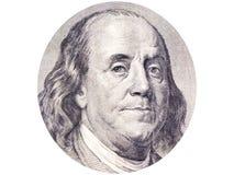 Benjamin Franklin-gezicht in ellips op de witte achtergrond van de 100 dollarrekening o royalty-vrije stock fotografie