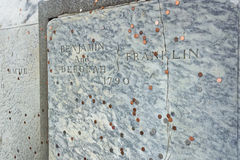 Benjamin Franklin Grave at Christ Church Burial Ground in Philadelphia Royalty Free Stock Photo