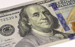 Benjamin Franklin-het gezicht op de dollars van de V.S. honderd of 100 factureert macro, het geldclose-up van Verenigde Staten Stock Afbeelding