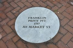 Benjamin Franklin House Privy Pit from Philadelphia in Pennsylvania USA. On 3rd July 2017 Royalty Free Stock Image