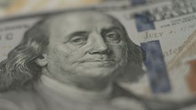 Benjamin Franklin, hundert Dollaranmerkungsnahaufnahme, Geld, Bank stock video footage