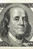 Benjamin Franklin Hundert Dollarschein-Nahaufnahmefragment Lizenzfreie Stockfotografie