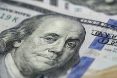 Benjamin Franklin on hundred dollar banknote Stock Photos