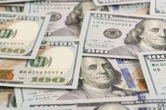 Benjamin Franklin on hundred dollars banknote. Selective focus stock images