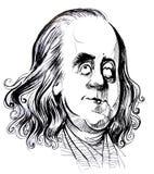 Benjamin Franklin karikatuur stock illustratie