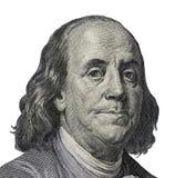 Benjamin Franklin Kvalitativ stående från 100 dollar banknot royaltyfri fotografi