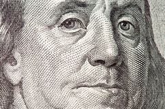 Benjamin Franklin macro from $100 dollar bill. Very big image stock photos