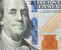 Benjamin Franklin macro from new one hundred dollars bill Stock Image