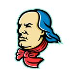 Benjamin Franklin Mascot. Mascot icon illustration of head of an American polymath and Founding Father of the United States, Benjamin Franklin looking forward stock illustration