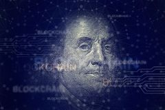 Benjamin Franklin mit blockchain cryptocurrency Stockfoto