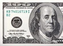 Benjamin Franklin na conta Tiro macro de uns 100 dólares Foto de Stock Royalty Free