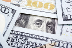 Benjamin Franklin nas cem notas de dólar Fotos de Stock
