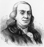 Benjamin Franklin. (1706 - 1790), one of the Founding Fathers of the United States, author, printer, political theorist, politician, postmaster, scientist stock illustration