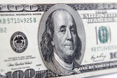 Benjamin Franklin. On one hundred dollar banknote closeup Stock Photography