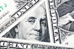 Benjamin Franklin on the one hundred dollar bill framed by other banknotes. Benjamin Franklin on the one hundred dollar bill framed by other banknotes royalty free stock photos