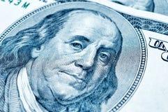 Benjamin Franklin på 100 dollar räkning Royaltyfri Fotografi