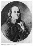 Benjamin Franklin on portrait. From 1778 stock photography