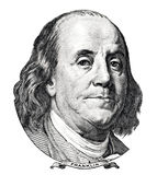 Benjamin Franklin portrait. Isolated on white background royalty free illustration