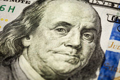 Benjamin Franklin portrait macro shot of 100 bill Stock Image