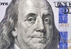 Benjamin Franklin portrait on one hundred dollar bill closeup Stock Image