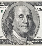 Benjamin Franklin portrait on one hundred dollar bill closeup Royalty Free Stock Photos