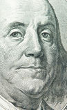 Benjamin Franklin portret van 100 dollarsbank Stock Fotografie