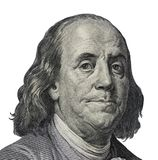Benjamin Franklin. Qualitative portrait from 100 dollars banknote Clipping path included.  royalty free stock photography