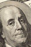 Benjamin Franklin-` s Blick auf hundert Dollarschein r stockfoto