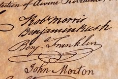 Benjamin Franklin's Handtekening royalty-vrije stock fotografie