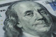 Benjamin Franklin-` s Porträt auf hundert Dollarschein Lizenzfreie Stockbilder